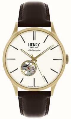 Henry London Património mens automático pulseira de couro preto branco relógio de marcação HL42-AS-0280