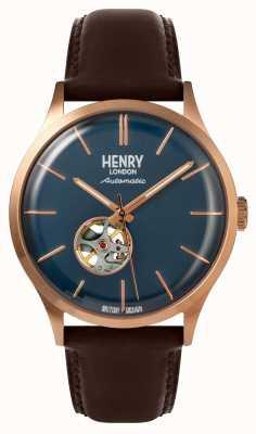 Henry London Relógio de discagem da Marinha de couro marrom automático de mens Heritage HL42-AS-0278