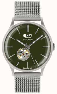 Henry London Relógio de mostrador verde de malha de aço prata mens mens Heritage HL42-AM-0283