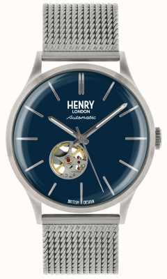 Henry London Relógio de mostrador azul de malha de aço prata mens mens herança HL42-AM-0285