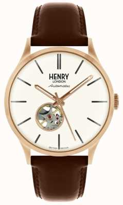 Henry London Relógio de mostrador branco pulseira de couro marrom mens Heritage HL42-AS-0276