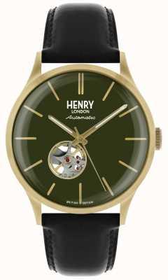 Henry London Património mens automático pulseira de couro preto verde relógio de marcação HL42-AS-0282