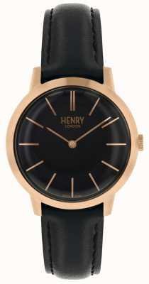 Henry London Mulheres icônicas relógio preto pulseira de couro preto de discagem HL34-S-0218