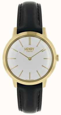 Henry London Mulheres icônicas assistir mostrador branco pulseira de couro preto HL34-S-0214