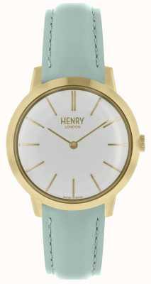 Henry London Mulheres icônicas assistir mostrador branco pulseira de couro azul HL34-S-0224