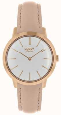 Henry London Mulheres icônicas relógio branco mostrador pulseira de couro nude HL34-S-0222