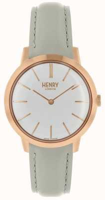 Henry London Mulheres icônicas assistir mostrador branco pulseira de couro cinza HL34-S-0220
