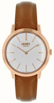 Henry London Mulheres icônicas assistir mostrador branco pulseira de couro tan HL34-S-0212