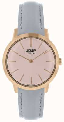 Henry London Mulheres icônicas assistir pulseira de couro cinza mostrador rosa HL34-S-0228