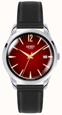 Henry London Chancery unisex pulseira de couro preto red dial watch HL39-S-0095