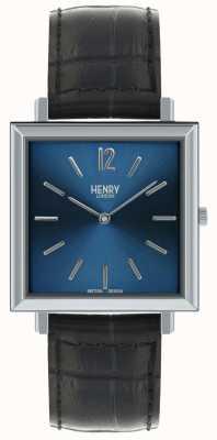 Henry London Património mens quadrado relógio azul mostrador pulseira de couro preto HL34-QS-0267