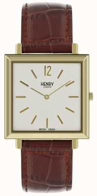 Henry London Património mens quadrado relógio pulseira de couro marrom mostrador branco HL34-QS-0268