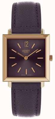 Henry London Património mulheres quadrada petite relógio roxo HL26-QS-0260