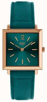 Henry London Heritage womens quadrado pequeno relógio verde HL26-QS-0258