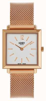 Henry London Património mulheres quadrada petite relógio rosa malha de ouro HL26-QM-0264