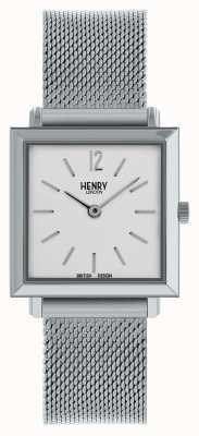 Henry London Malha quadrada de prata do relógio quadrado pequeno das mulheres da herança HL26-QM-0265