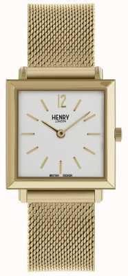 Henry London Património das mulheres quadrada petite relógio de malha de ouro HL26-QM-0266