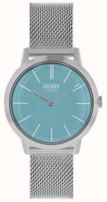 Henry London Mulheres icônicas assistir prata malha pulseira mostrador azul HL34-M-0273