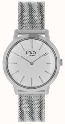 Henry London Mulheres icônicas assistir pulseira de malha de prata mostrador branco HL34-M-0231