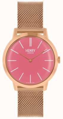 Henry London Relógio icônico das mulheres subiu pulseira de malha de ouro rosa discagem HL34-M-0272