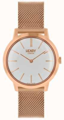 Henry London Mulheres icônicas relógio rosa pulseira de malha de ouro mostrador branco HL34-M-0230