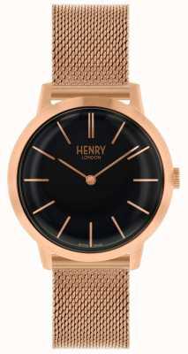 Henry London Relógio das mulheres icônico subiu pulseira de malha de ouro mostrador preto HL34-M-0234