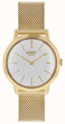 Henry London Relógio de mulher icônico pulseira de malha de ouro mostrador branco HL34-M-0232