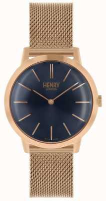 Henry London Relógio das mulheres icônico subiu pulseira de malha de ouro mostrador azul HL34-M-0292