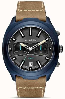 Diesel Mens tumbler azul caso pulseira de couro marrom relógio DZ4490