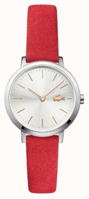 Lacoste Lua pequena pulseira de couro vermelho mostrador prateado 2001048
