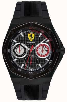 Scuderia Ferrari Mens aspire preto pulseira de borracha preta data caso 0830538