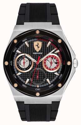 Scuderia Ferrari Mens aspire preto pulseira de borracha ouro acentos data exibição 0830556