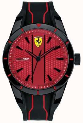 Scuderia Ferrari Mens redrev red dial pulseira de borracha preta 0830540
