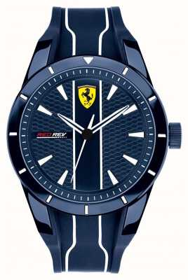 Scuderia Ferrari Mens redrev blue dial pulseira de borracha azul 0830541