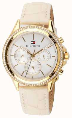 Tommy Hilfiger Couro bege feminino cristal banhado a ouro multi-função 1781982