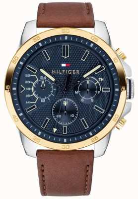 Tommy Hilfiger Decker pulseira de couro marrom | mostrador azul 1791561