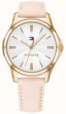 Tommy Hilfiger Caixa banhada a ouro para mulher blush leather 1781954