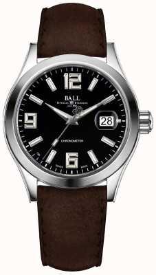Ball Watch Company Engenheiro ii pioneiro preto mostrador pulseira de couro marrom NM2026C-L4CAJ-BK