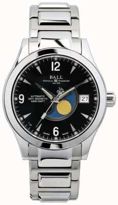 Ball Watch Company Exibição de data de discagem preta automática de fase de lua de Ohio NM2082C-SJ-BK