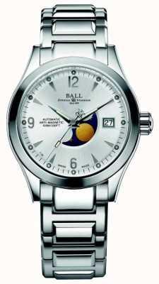 Ball Watch Company Exibição de data de discagem de prata automática de fase de lua de Ohio NM2082C-SJ-SL