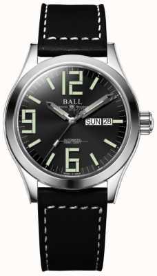 Ball Watch Company Engenheiro ii gênesis mostrador preto pulseira de couro dia e data NM2026C-LBK7-BK