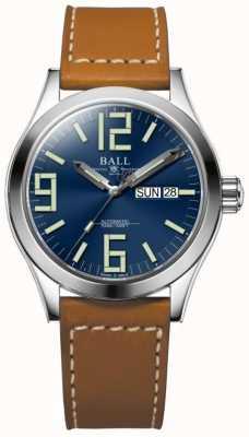 Ball Watch Company Engenheiro ii gênesis mostrador azul pulseira de couro tan dia e data NM2026C-LBR7-BE