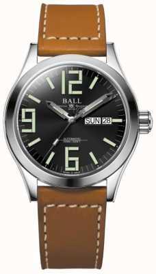 Ball Watch Company Engenheiro ii gênesis mostrador preto pulseira de couro tan dia e data NM2026C-LBR7-BK