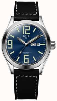 Ball Watch Company Engenheiro ii gênesis mostrador azul pulseira de couro preto dia e data NM2028C-LBK7-BE