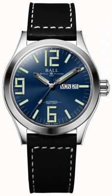 Ball Watch Company Engenheiro ii gênesis mostrador azul pulseira de couro preto dia e data NM2028C-LBK7J-BE