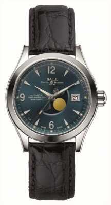 Ball Watch Company Correia de couro automática da indicação da data da fase da lua de Ohio NM2082C-LJ-BE