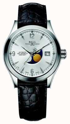 Ball Watch Company Bracelete de couro com exibição automática de data prata de fases da lua de Ohio NM2082C-LJ-SL