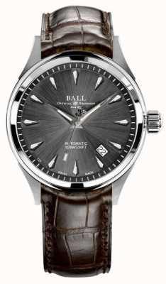 Ball Watch Company Trainmaster legenda cinza sunray dial pulseira de couro marrom NM3080D-LJ-GY