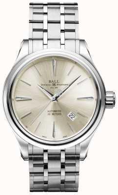 Ball Watch Company Trainmaster legend automatic cream dial data em aço inoxidável NM3080D-SJ-SL