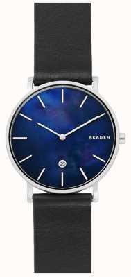 Skagen Mens hagen pulseira de couro preto relógio com mostrador azul SKW6471